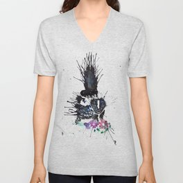 Abstract Watercolor Skunk Unisex V-Neck