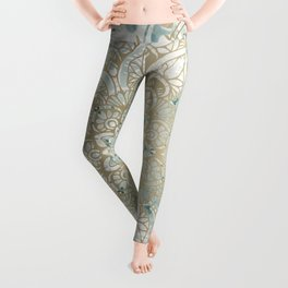Yoga, Mandala, Teal and Gold, Wall Art Boho Leggings