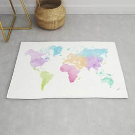 Multicolored watercolor world map Rug
