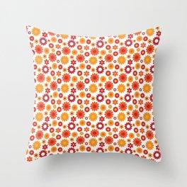 Retro 60s Flower Power Print Throw Pillow