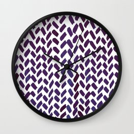 Cute watercolor knitting pattern - puple Wall Clock