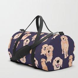 Golden Retrievers on Navy Duffle Bag