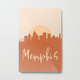 MEMPHIS TENNESSEE CITY SUN SKYLINE EARTH TONES Metal Print