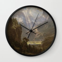 Rocky Mountains, Lander's Peak by Albert Bierstadt Wall Clock