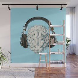 Mind Music Connection /3D render of human brain wearing headphones Wall Mural