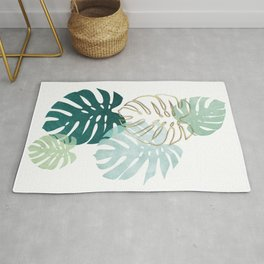 Tropical minimal / green, turquoise and gold monstera Rug