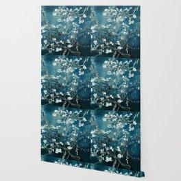 Van Gogh Almond Blossoms : Dark Teal Wallpaper
