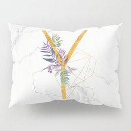 Modern glamorous personalized gold initial letter Y, Custom initial name monogram gold alphabet prin Pillow Sham