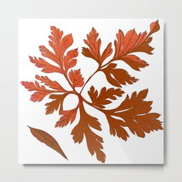 Vintage Fall Leaves Metal Print