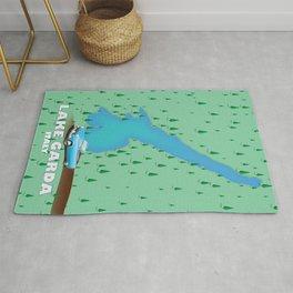 Lake Garda Italy travel poster map Rug