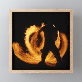 Dramatic Polynesian Fire Dancer On A Tropical Night Framed Mini Art Print