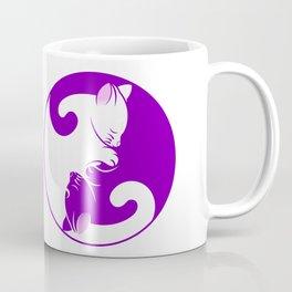 cat yin yang kitten symbol purple Coffee Mug