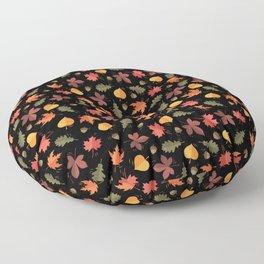 Autumn Leaves Pattern Black Background Floor Pillow