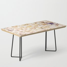 Neutral Tone Quilted Pattern Design Coffee Table