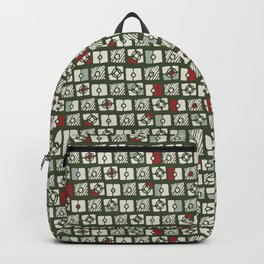 Geometrical green white red abstract stripes squares pattern Backpack