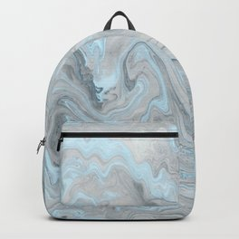 Ice Blue and Gray Marble Backpack