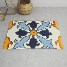 Talavera Mexican tile inspired bold design in blue and gold Rug