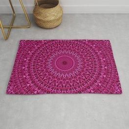 Deep Pink Floral Mandala Rug