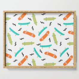 Skateboards orange and green pattern great decor for nursery kids rooms boys and girls Serving Tray