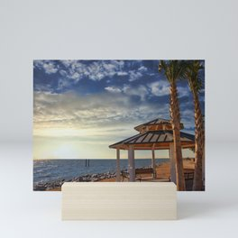 Pavilion Under Palm Tree by the Sea at Sunset Mini Art Print