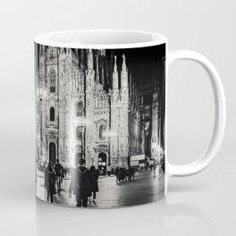 Black and White Duomo Piazza Night Scene, Milan City, Italy Coffee Mug