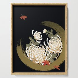 White Peonies Red Maple Leaves Japanese Kimono Pattern Serving Tray