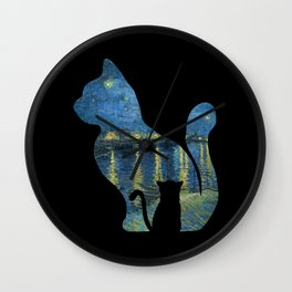 Cat Watching The Starry Night Over The Rhone - Van Gogh Painting Wall Clock