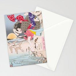 Leaping Geisha - Vintage Japanese Art print Stationery Cards