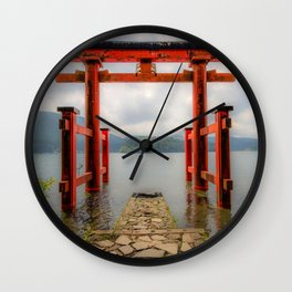 Hakone Shrine gate lake japanese landmarks Hakone Japan Asia Wall Clock
