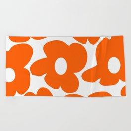 Orange Retro Flowers White Background #decor #society6 #buyart Beach Towel
