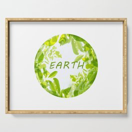 Design with soft green tree branches and leaves depicting Earth Day Serving Tray