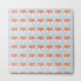 Cute Fox Terrier Dog Pattern Metal Print