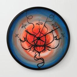 Orange Lotus Wall Clock