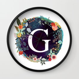 Personalized Monogram Initial Letter G Floral Wreath Artwork Wall Clock