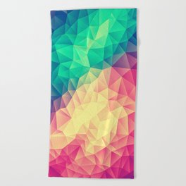Abstract Polygon Multi Color Cubism Low Poly Triangle Design Beach Towel
