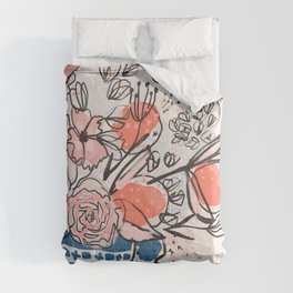 Oranges and Pink Peony Bouquet in Dutch Delft Blue Vase Comforters