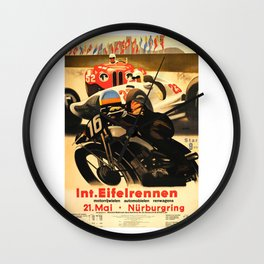 Nurburgring Race, vintage poster Wall Clock