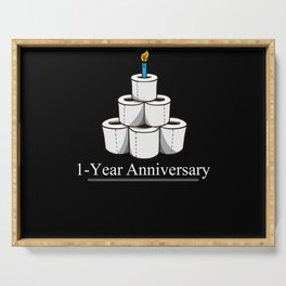 One Year Anniversary Toilet Paper With Candle Serving Tray