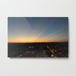 Sun rays at Sunset over Austin Hill Country Metal Print