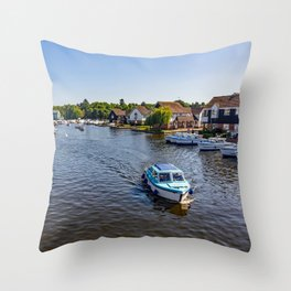 Boating on the River Bure, Wroxham Throw Pillow