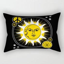 Sun & Moon / Peace Sign Sacred Geometry Rectangular Pillow
