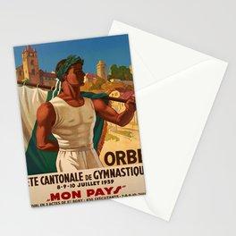 retro old fete cantonale de gymnastique orbe poster Stationery Cards