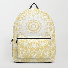 White Lace Mandala on Sunshine Yellow Background Backpack