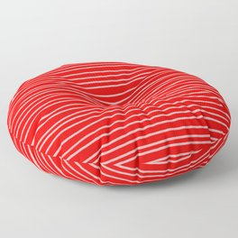 Scarlet Red Pinstripes Floor Pillow