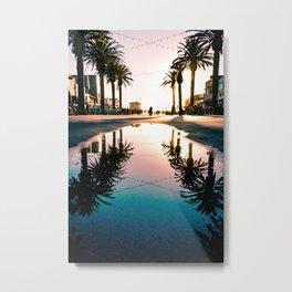 Hermosa Beach Palm Tree Reflection Metal Print