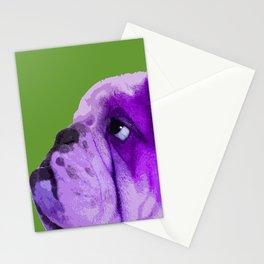 English bulldog portrait, Green Pop art Stationery Cards