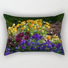A bed of colorful pansies Rectangular Pillow