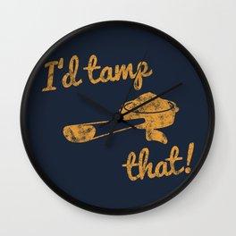 I'd Tamp That! (Espresso Portafilter) // Mustard Yellow Barista Coffee Shop Humor Graphic Design Wall Clock