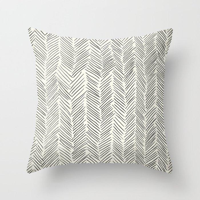 Herringbone Black on Cream Throw Pillow by followmeinstead | Society6