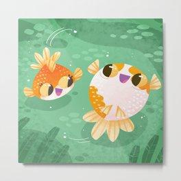 Happy 2 Little Goldfish Metal Print